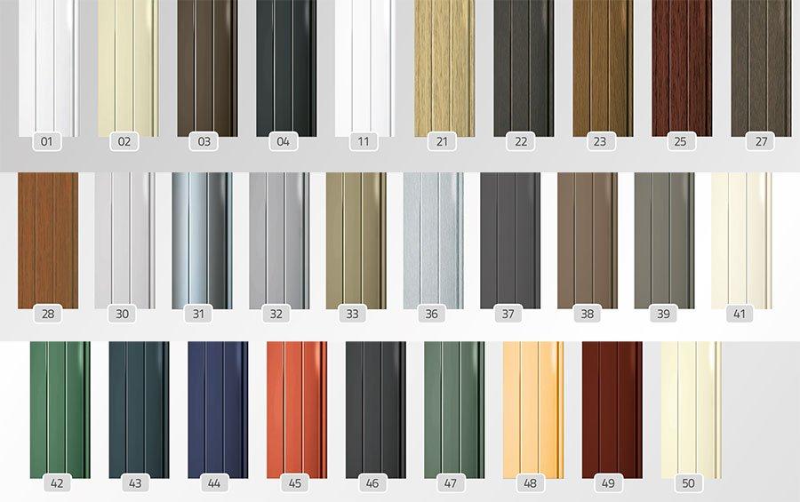 Farben der Aluminiumpanzerungsleisten
